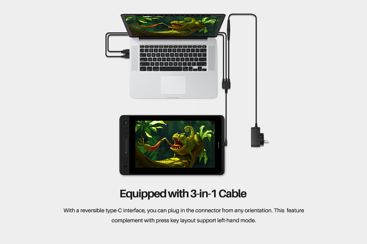 Equipped with 3-in-1 cable