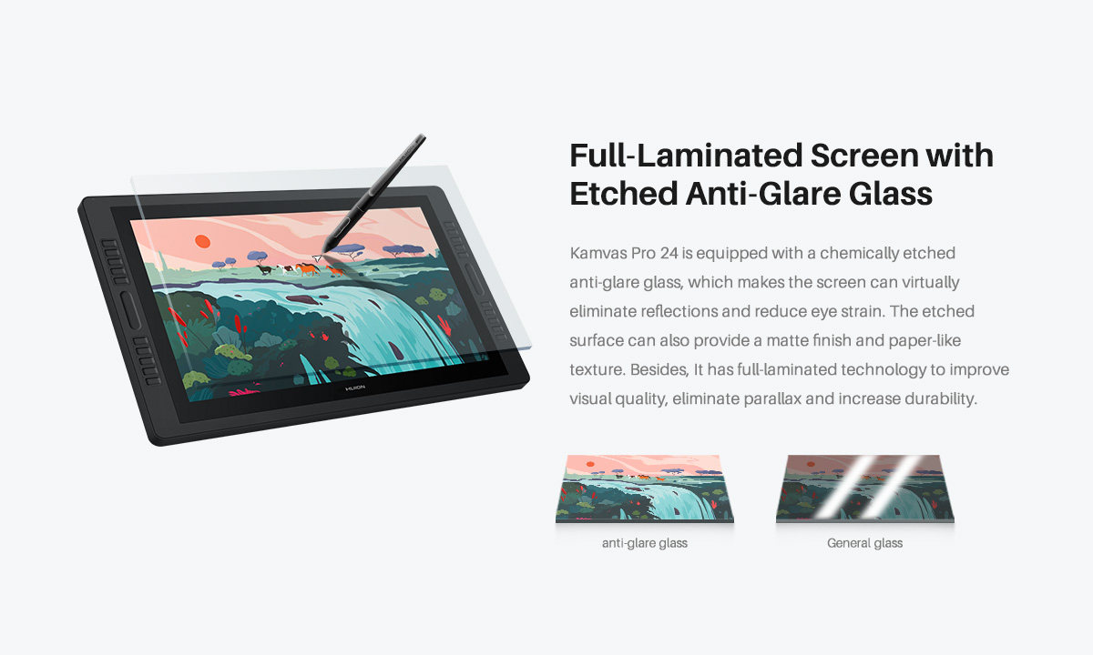 Full Laminated screen with eatched anti-glare glass