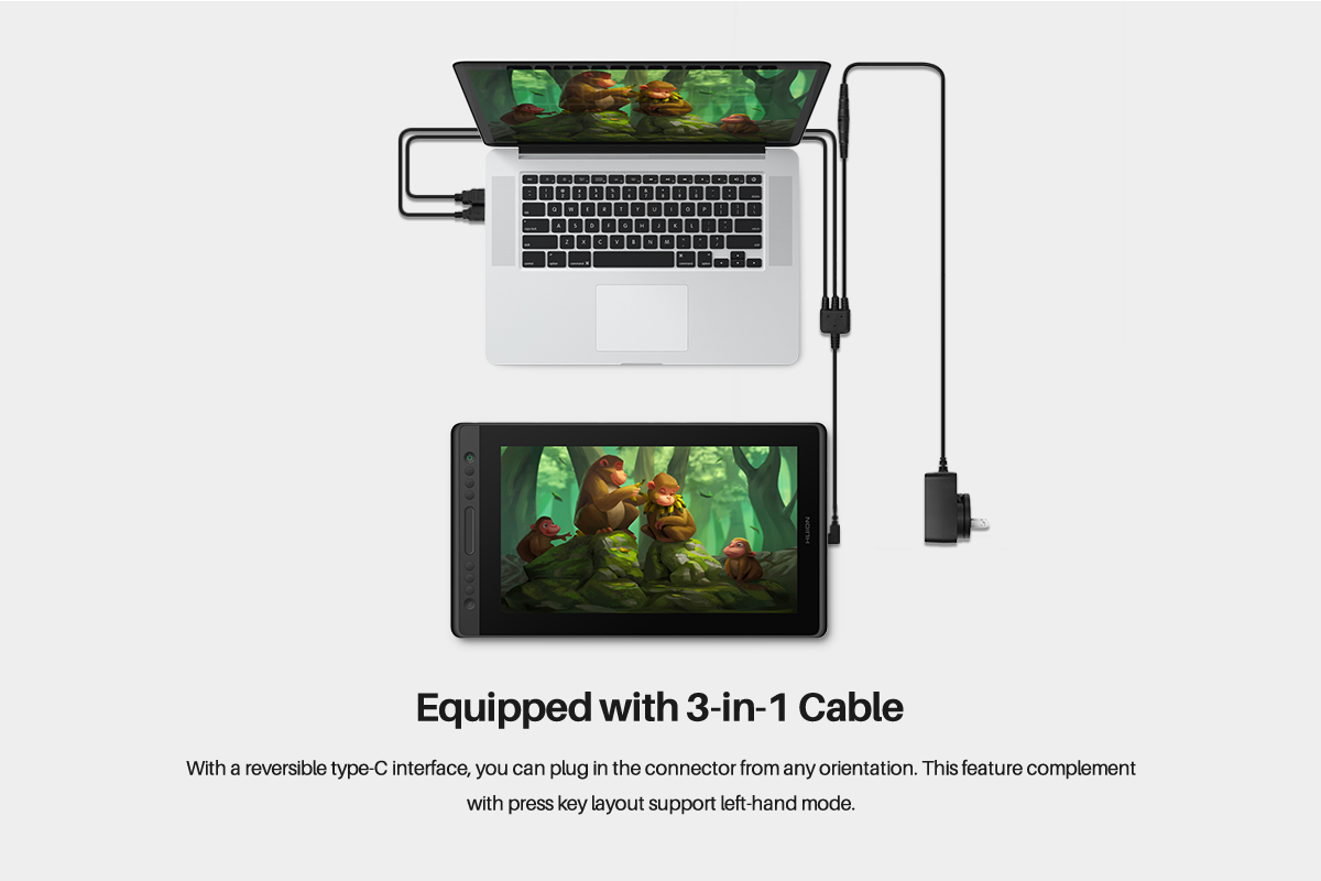 Equipped with 3 in 1 cable