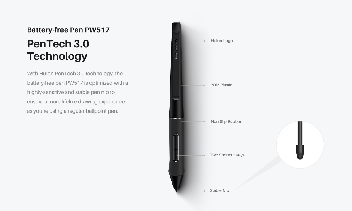 Huion PW517 Battery-Free Pen